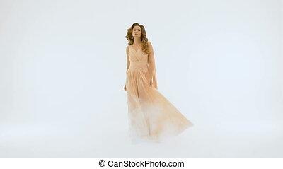 beau, chante, chanteur, lent, long, wall., mouvement, fond, robe blanche