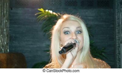 beau, chante, song., femme, jeune, blonds