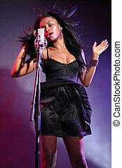 beau, chanteur, américain, musique, africaine