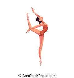 beau, chaussures ballet, collants, jeune, danseur