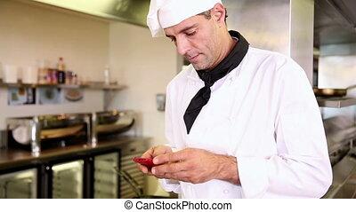 beau, chef cuistot, messag, envoi, texte