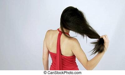 beau, cheveux, en mouvement, brillant, long