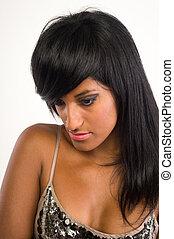 beau, cheveux, femme, indien, long