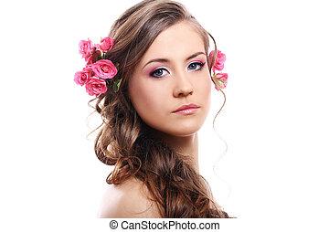 beau, cheveux, femme, roses