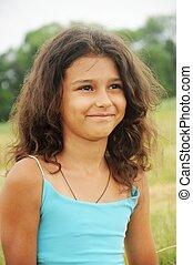 beau, cheveux, girl, long, portrait