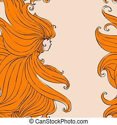 beau, cheveux, girl, seamless
