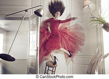beau, choses, femme, levitating