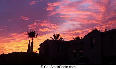 beau, ciel, coucher soleil