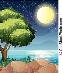 beau, clair, lune, nature