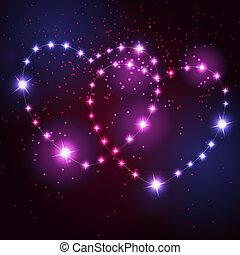 beau, coeur, amour, étoiles, deux, clair, fond