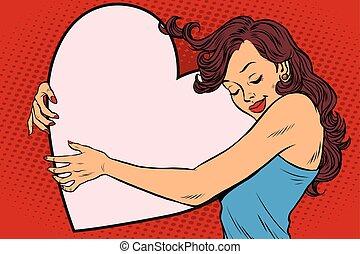 beau, coeur, femme, jeune, étreindre, valentin