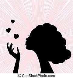 beau, coeur, femme, silhouette, figure, baiser