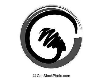 beau, coiffure, concept, silhouette, isolé, vecteur, traditionnel, femmes, femme, conception, africaine, portrait, logo, turban, noir