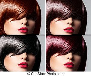 beau, coiffure, femme, naturel, collage, directement, jeune, couleur cheveux, concept, lustré, mélangé