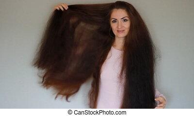 beau, coiffure, femme, très, long, hair.
