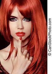 beau, coiffure, woman., beauté, sain, lips., hair., long, girl., nail., polonais, sexy, modèle, rouges