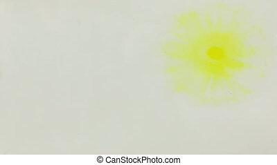 beau, coloré, drop., jaune, eau, arrière-plan., eau, encre, tomber, blanc