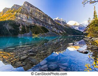 beau, commencement matin, lac louise