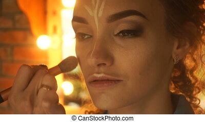 beau, concealer, artiste, maquillage, jeune, figure, affaires, girl