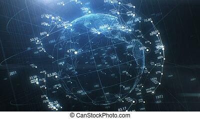 beau, concept, cyberspace., globe, rotation, fait boucle, nombres, la terre, technologie, around., réseau, animation, 3840x2160, seamless, 3d, uhd, business, résumé, 4k, croissant, hologramme, futuriste