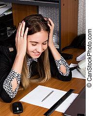 beau, concept, femme, employé bureau, sien, tenue, head., panique