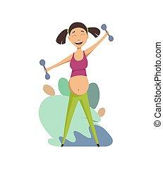 beau, concept, maternel, exercise., pregnant, exercisme, vecteur, isolé, arrière-plan., femme, santé, asiatique, illustrations, portrait, blanc, care., dumbbells., dessin animé