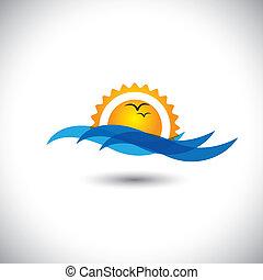 beau, concept, &, -, océan, levers de soleil, vecteur, vagues, matin, oiseaux