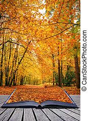beau, concept, vibrant, excellent, scène, magique, détail, automne, couleurs, livre, idée, venir, automne, créatif, dehors, pages, forêt