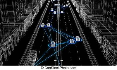 beau, contrôle, tout, fait boucle, seamless., résumé, rue, 3840x2160., ville, réseau, fonctionnement, système, surveillance, animation, connecter, numérique, 3d, voitures, illustration, hd, system., 4k, ultra, futuriste