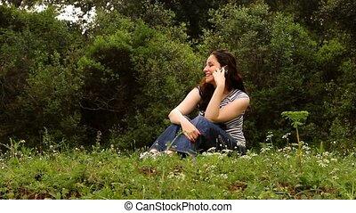 beau, conversation, campagne, téléphone, 2, girl