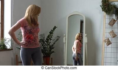 beau, corps, femme, elle, vérification, forme, miroir