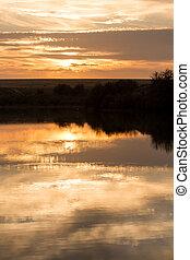 beau, coucher soleil, lac