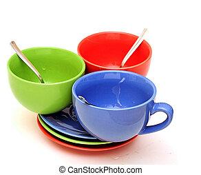 beau, couleur, blanc, tasses, fond