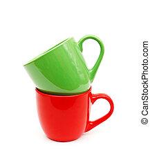 beau, couleur, tasses