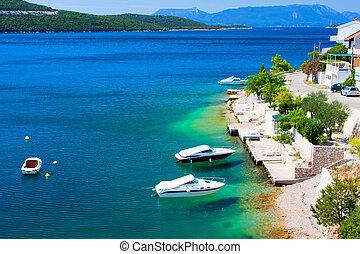 beau, couleurs, adriatique, côte, croatie
