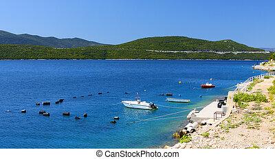 beau, couleurs, adriatique, côte
