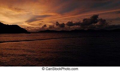 beau, coup, île, corail, bourdon, coucher soleil, thaïlande