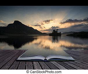 beau, cregennen, concept, national, snowdonia, parc, lacs, reflété, livre, calme, créatif, pages, levers de soleil