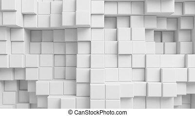beau, cubes, mur, résumé, seamless, arrière-plan., fait boucle, blanc, 3d, animation., moving.