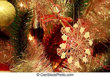 beau, décoré, arbre., noël, flocon de neige