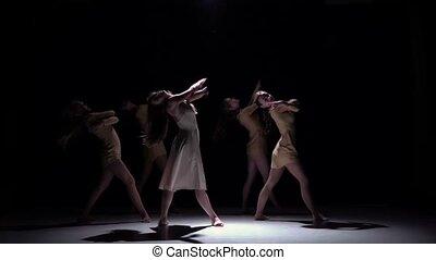 beau, danse lente, moderne, filles, contemporain, danse, mouvement, continuer, cinq, noir, ombre