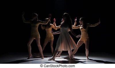 beau, danse, moderne, filles, contemporain, danse, cinq, noir, ombre
