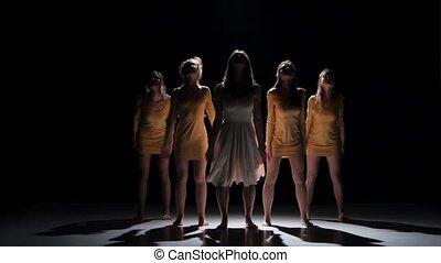 beau, danse, moderne, filles, contemporain, danse, début, cinq, noir, ombre