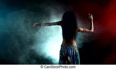 beau, danseur, jeune, lumière, dos, bas, fumée, ventre, came, noir, girl, mouvements, torse