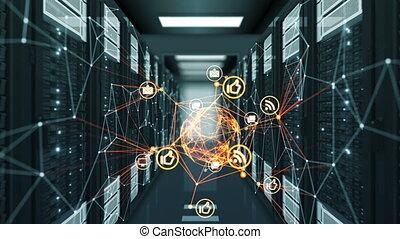 beau, datacenter, fait boucle, animation., illustration., icônes, couleur, stream., résumé, futuriste, ultra, média, hd, numérique, orange, changer, 4k, technologie, concept., 3840x2160., 3d