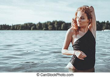 beau, debout, femme, jeune, water.