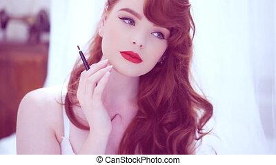 beau, demande, lustre, lèvre, roux, rouges