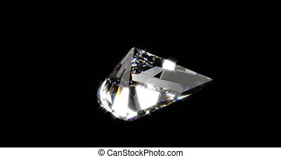beau, diamant, reflet, sur, capable, tourner, arrière-plan noir, boucle