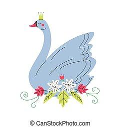 beau, doré, agréable, conte fées, cygne, gris, illustration, couronne princesse, vecteur, fleurs, oiseau