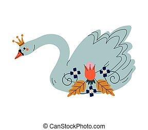 beau, doré, conte fées, cygne, couronne, illustration, princesse, fleurs, vecteur, agréable, oiseau
